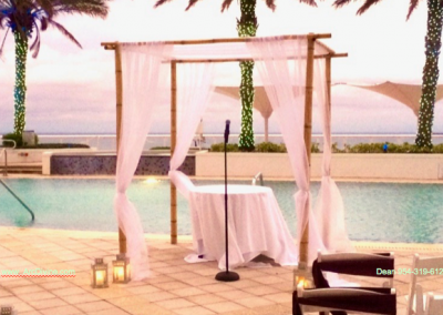 Bamboo with Sheer Wedding Chuppah Canopy Rental South FL