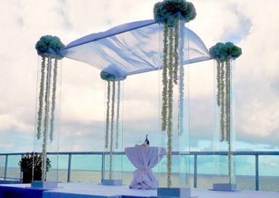 Acrylic Hydrangeas Orchid Garlands Wedding Chuppah at the Ritz Carlton Ft. Lauderdale FL