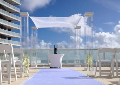 Acrylic Wedding Canopy Chuppah Altar Mandap Glass Vase Ceremony Table Gems at W Hotel Fifth Floor Terrace in Ft Lauderdale