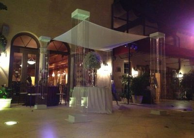 Acrylic Wedding Canopy Chuppah with Gem Strings & Ceremony Table Rental at The Addison in Boca Raton, FL