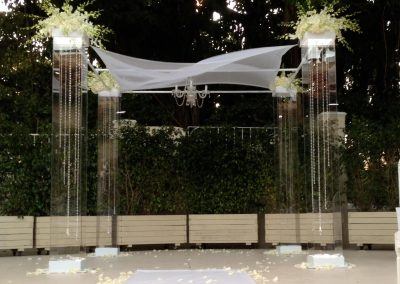 Acrylic Lucite Plexiglas Wedding Canopy Chuppah with Gem Strings & Chandelier Rental at the Coral Gables Country Club Miami