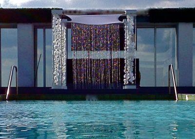 Acrylic Lucite Wedding Canopy Chuppah with Gem Strings Silk Orchids & Gem Backdrop