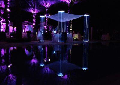 LED Lighting Acrylic Wedding Canopy Chuppah Altar Mandap Rental at Acqualina Sunny Isles South Florida