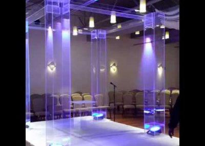 Acrylic Chuppah With Acrylic Trays on Top & LED Uplighting