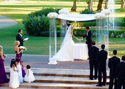 Chic :: Modern Acrylic Lucite Plexiglass Wedding Chuppah Canopy Rental by ArcDivine.com at The Biltmore Coral Gables, Miami