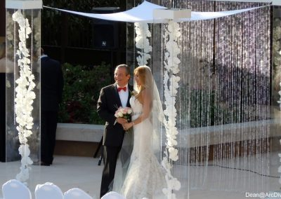 Acrylic Wedding Chuppah Canopy with Orchids, Gem Strings & Gem Backdrop