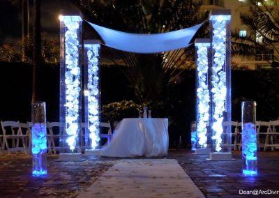 LED Light Glass Vase Florals Acrylic Wedding Canopy Chuppah Altar Mandap