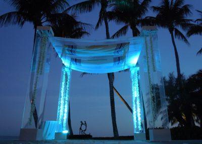 Ultra modern and contemporary acrylic plexiglass chuppah/canopy by Arc Divine Miami at The Grove Isle Resort, Miami FL