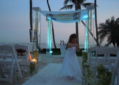 Chic :: Modern Acrylic Lucite Plexiglass Wedding Chuppah Canopy Rental at Grove Isle Resort, Miami