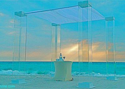 Ultra Modern Plexiglass Wedding Chuppah Canopy Arch Rental at ONE Bal Harbour Miami FL