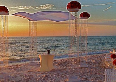 Acrylic Lucite Plexiglass Wedding Canopy Chuppah Altar Mandap at the La Playa Beach Resort in Naples, FL