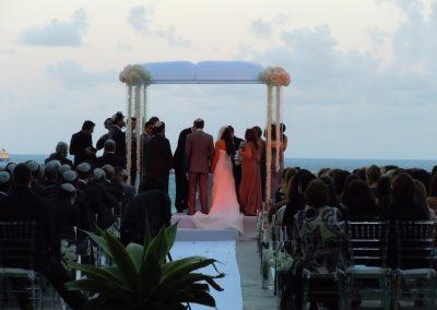 Acrylic wedding chuppah canopy by Arc Divine Miami at The Ritz Carlton, Key Byscane, FL