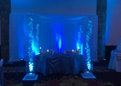 Acrylic Chuppah Signature Grand Sweetheart Table with Acrylic Chuppah with Silk Orchid and Blue uplights