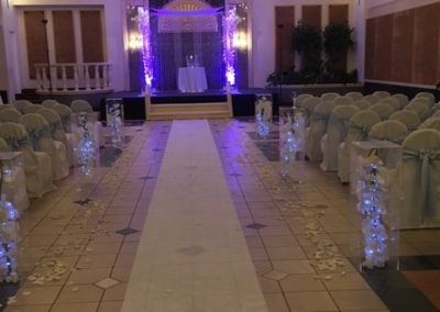 Acrylic Aisle Columns with Silk Orchids and Fairy Lights