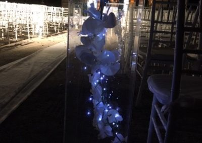 Wedding Decor 3 Foot Aisle columns with Silk orchids and fairy lights