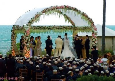 Big Wrought Iron Wedding Chuppah Canopy Arch at the Ritz Carlton Biscayne Bay Miami Ft. Lauderdale West Palm Boca Raton South Beach