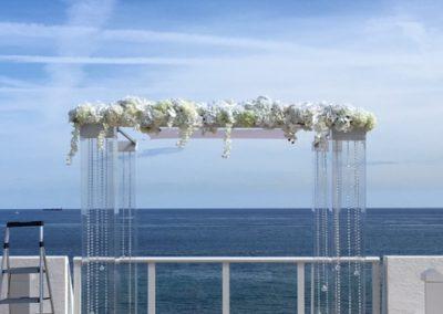 Wedding Decor 8 foot Flower Bar on Acrylic Chuppah with Gems