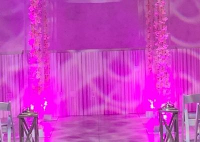 Acrylic Chuppah Pink Lights and cherry blossoms