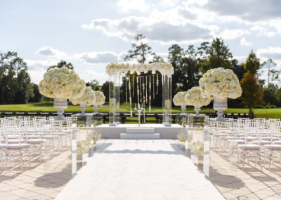 Acrylic Chuppah with Aisle Columns With Initials