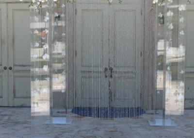 Acrylic Chuppah with Silk Flower Bar - Short Strainds of Orchids and Gems and Gem Curtain