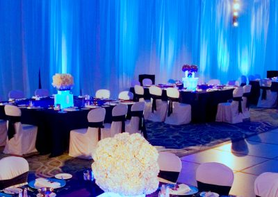 Blue Wall LED Uplights Wedding Room Decor Rental in South FL
