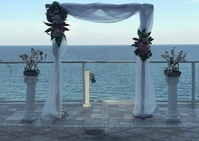 Bamboo Wedding Arch with Heavy Draping Rental Ft. Lauderdale Miami South FL