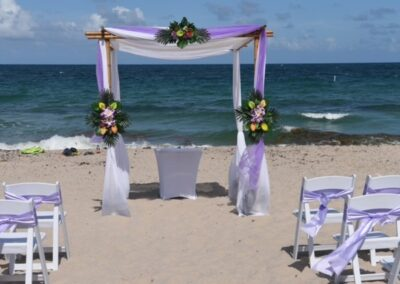 Bamboo chuppah rental two color on ft lauderdale beach