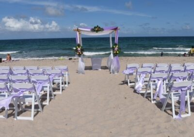Bamboo arch rental two color on ft lauderdale beach with chairs