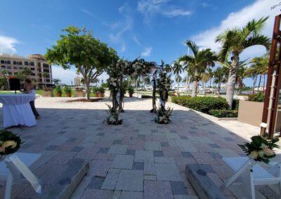 Branchy Huppah Lake Pavillion Palm Beach Wedding Arch Rental 2