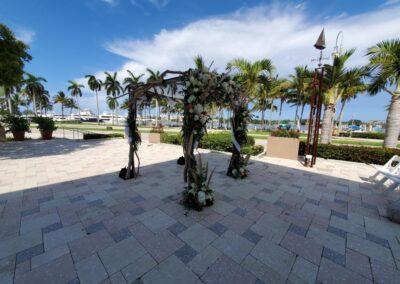 Branchy Huppah Lake Pavillion Palm Beach Wedding Arch Rental