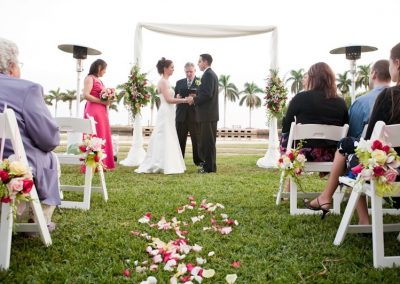 Classic Arch : Sheer Elegant Draping Canopy Chuppah Altar Rentals at Deering Estate, Coral Gables Miami FL