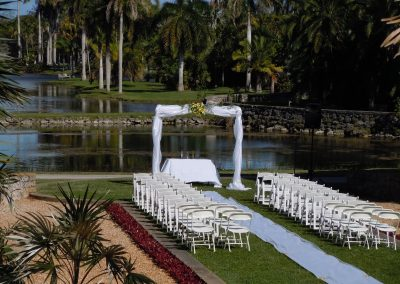 Classic Wedding Altar Arch Ceremony Table Runner at the Fairchild Botanical Gardens in Miami FL
