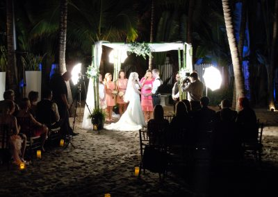 Bamboo and Sheer Drape Wedding Canopy Chuppah Arch Rental at the National Hotel, South Beach FL