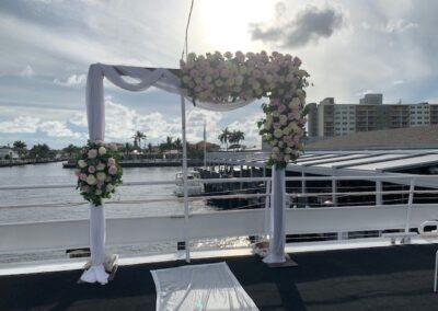 Dark wooden arch for rent - Catalina Yacht Wedding