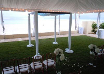 Elegance Wedding Canopy Chuppah Arch Mandap Room Decor Rental at the Aqualina, Miami Beach FL
