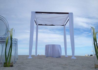 Elegance :: Pleated Canopy Chuppah Arch Rental by ArcDivine.com at the Bath Club in South Beach