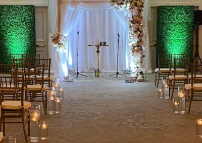 Light Wooden Chuppah custom fabric and fresh florals