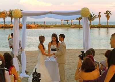 Classic Beach Wedding Canopy Chuppah Rental at Red Fish Grill, Coral Gables FL