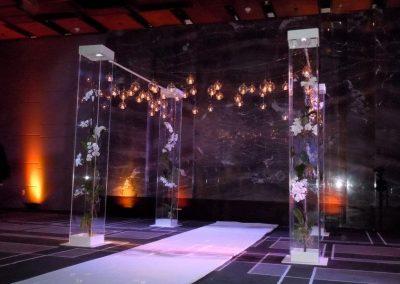 Modern Acrylic Columns for Wedding Room Decor Rental at The W Hotel in South Beach Miami FL