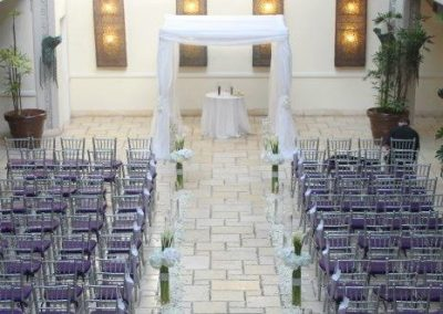 Classic Wedding Canopy Chuppah & Glass Vase Decor Rentals at the Mayfair in Coconut Grove