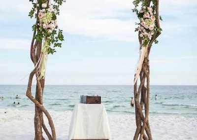 Natural Branchy Wood Wedding Altar Arch with Floral at the Beach in South FL
