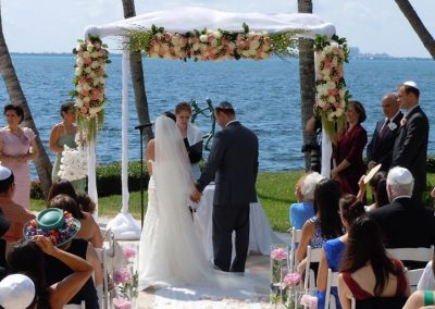 Classic Wedding Chuppah Alter Canopy Mandap Arch Rental at Grove Isle Hotel & Spa, Miami South Beach FL